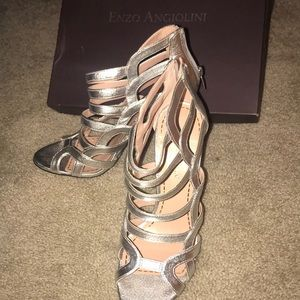 New with box Enzo Angiolini silver stilettos.